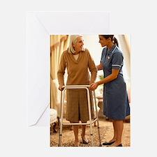 Senior woman with walking frame Greeting Card