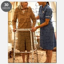 Senior woman with walking frame Puzzle