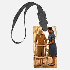 Senior woman with walking frame Luggage Tag