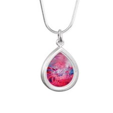 Red blood cells, compute Silver Teardrop Necklace
