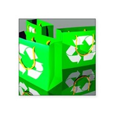 "Reusable shopping bags, art Square Sticker 3"" x 3"""