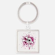 Girlie Skull Square Keychain