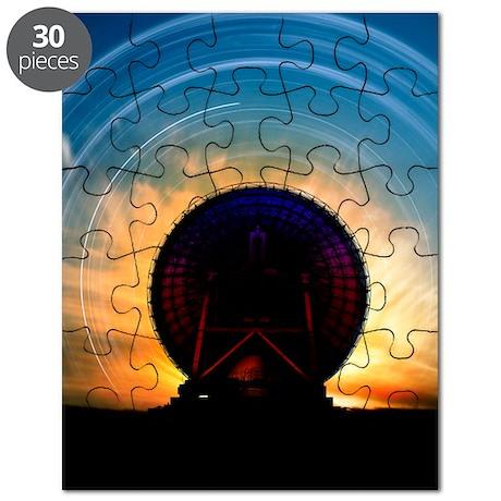 Radio telescope and star trails, artwork Puzzle
