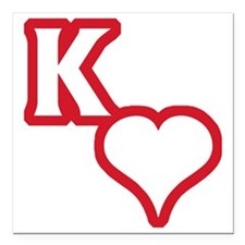 "Kappa Sweetheart Outline Square Car Magnet 3"" x 3"""