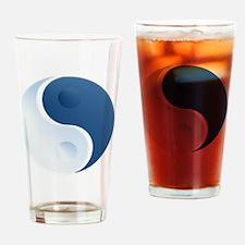 Silver and Bluetone Yin Yang Drinking Glass