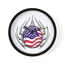 US Flag: Tribal Arachnid Wall Clock