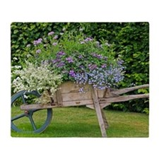 Wooden wheelbarrow planter Throw Blanket