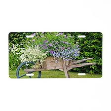 Wooden wheelbarrow planter Aluminum License Plate