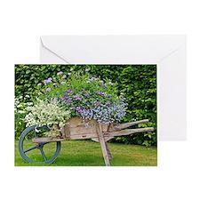 Wooden wheelbarrow planter Greeting Card