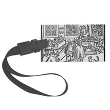 Woodcut of scribes at work Luggage Tag