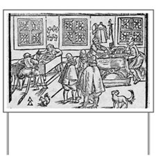 Woodcut of scribes at work Yard Sign