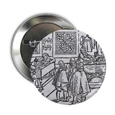 """Woodcut of scribes at work 2.25"""" Button"""