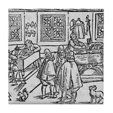 Woodcut of scribes at work Tile Coaster
