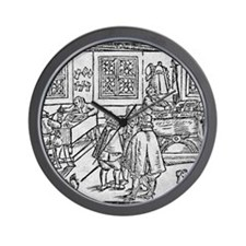 Woodcut of scribes at work Wall Clock