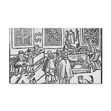 Woodcut of scribes at work Rectangle Car Magnet