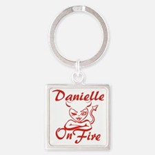 Danielle On Fire Square Keychain