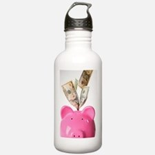 Piggy bank and US doll Water Bottle