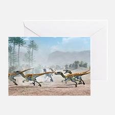 Velociraptor dinosaurs Greeting Card
