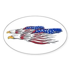 US Flag: American Eagles Oval Decal