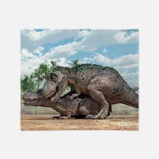 Tyrannosaurus rex dinosaurs mating Throw Blanket