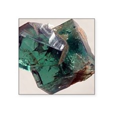 "Twinned fluorite crystals Square Sticker 3"" x 3"""