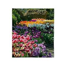 Tulip (Tulipa sp.) borders Throw Blanket