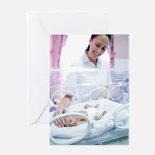 Nurse and premature baby Greeting Card