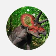 Triceratops dinosaur, artwork Round Ornament