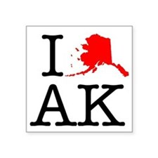"I Love AK Alaska Square Sticker 3"" x 3"""