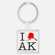 I Love AK Alaska Square Keychain