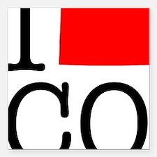 """I Love CO Colorado Square Car Magnet 3"""" x 3"""""""