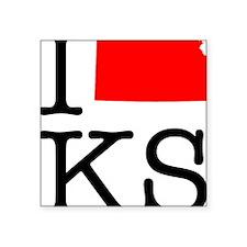 """I Love KS Kansas Square Sticker 3"""" x 3"""""""