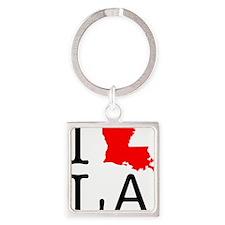 I Love LA Louisiana Square Keychain