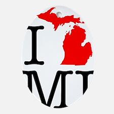I Love MI Michigan Oval Ornament