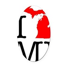I Love MI Michigan Oval Car Magnet