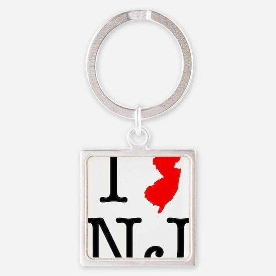 I Love NJ New Jersey Square Keychain