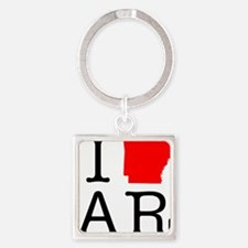 I Love AR Arkansas Square Keychain