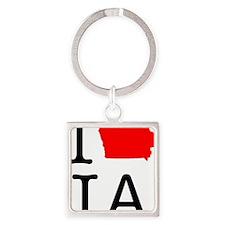 I Love IA Iowa Square Keychain