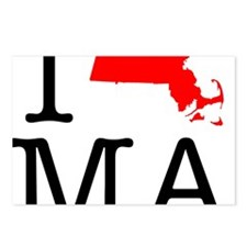 I Love MA Massachusetts Postcards (Package of 8)