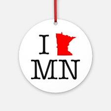 I Love MN Minnesota Round Ornament