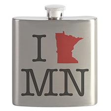 I Love MN Minnesota Flask
