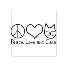 Peace, Love, and Cats! Rectangle Sticker