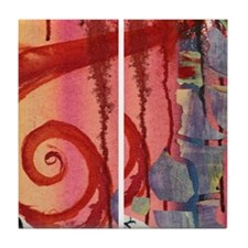 Red Swirl Tile Coaster