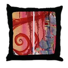 Red Swirl Throw Pillow