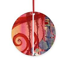 Red Swirl Round Ornament