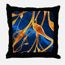 Nerve synapses, artwork Throw Pillow