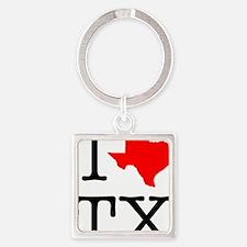 I Love TX Texas Square Keychain