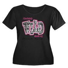 wilddh Women's Plus Size Dark Scoop Neck T-Shirt