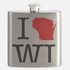 I Love WI Wisconsin Flask