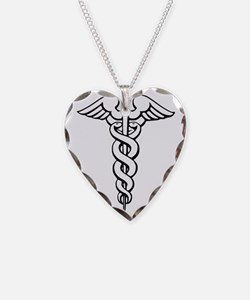Caduceus Necklace Heart Charm